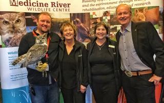 Medicine River Wildlife Centre | Todd Kelly(with Otis), Carol Kelly (founder), Judy Boyd, Brian Keating