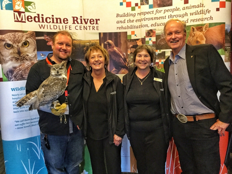 Medicine River Wildlife Centre | Todd Kelly(with Otis), Carol Kelly (founder), Judy Boyd, Brian Keating