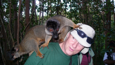 Brian & brown lemur in Madagascar 2008