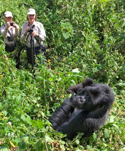 Brian and Dee at Dian Fossey's camp in Rwanda