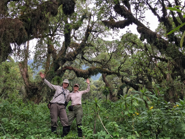 Brian and Dee in Hagenia Forest at Dian Fossey's camp