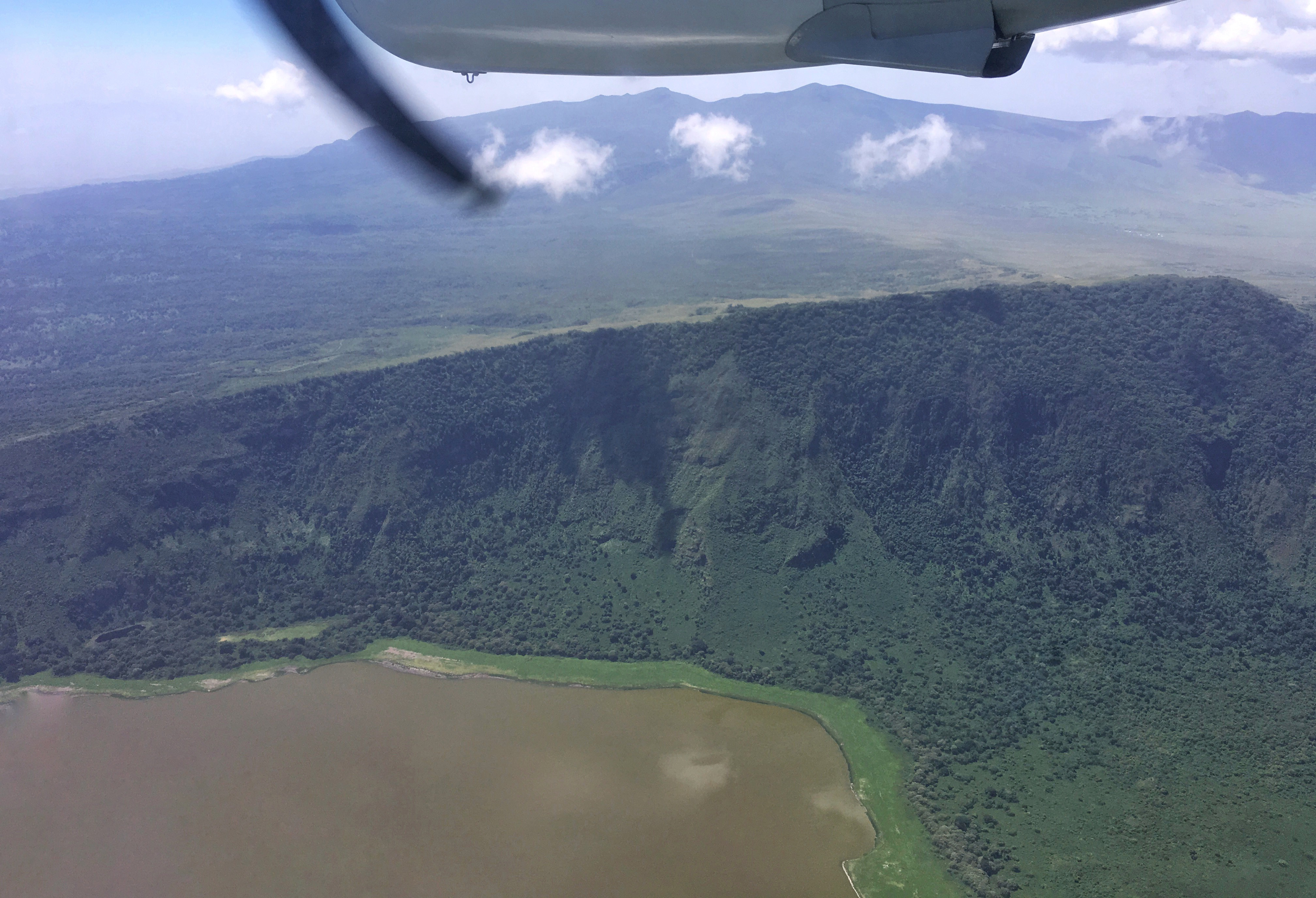 Here is the photo Brian took of the Empakai Crater.  He hiked on the high ridge overlooking the crater, and camped up there, to eventually descend down into the Rift Valley.