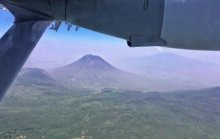 Below is the view from Brian's aircraft of Ol Doinyo Lengai Volcano, which he had a stellar view of from Lake Natron Camp.